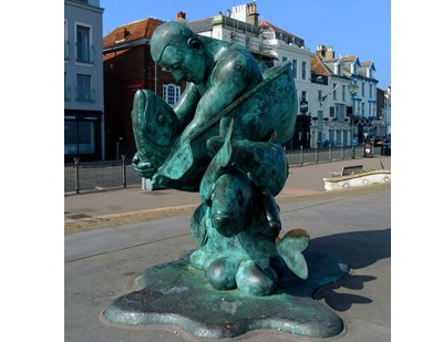The sculpture at the end of the pier.