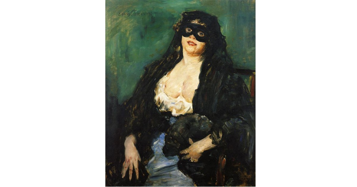 1908 Lovis Corinth (German Painter, 1858-1925)  Charlotte Berend-Corinth  in a Black Mask