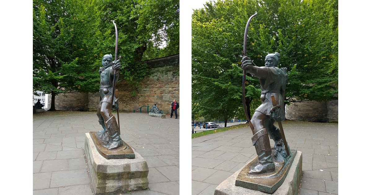 Robin Hood statue by James Woodford, near the castle in Nottingham