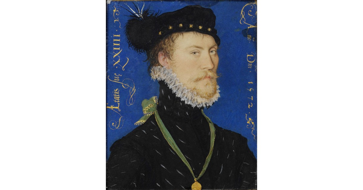 An unknown man painted in 1572 by Hilliard