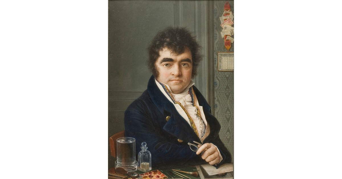 Miniature self-portrait, by Louis-Marie Autissier. In the foreground, the artist's pencils, brushes, and tools for painting miniatures can be seen. Watercolour on ivory, 19.1 × 13.5 cm (7.52 × 5.31 in), 1817, Nationalmuseum.