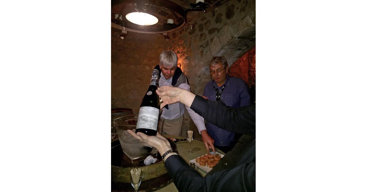 Tasting Cava in the underground cellars of Cava Llopart, Catalunya