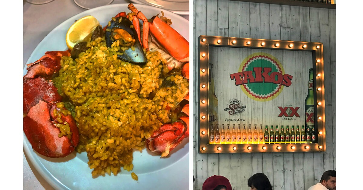 Seafood Paella at La Barraca and a sign for Takos Restaurant