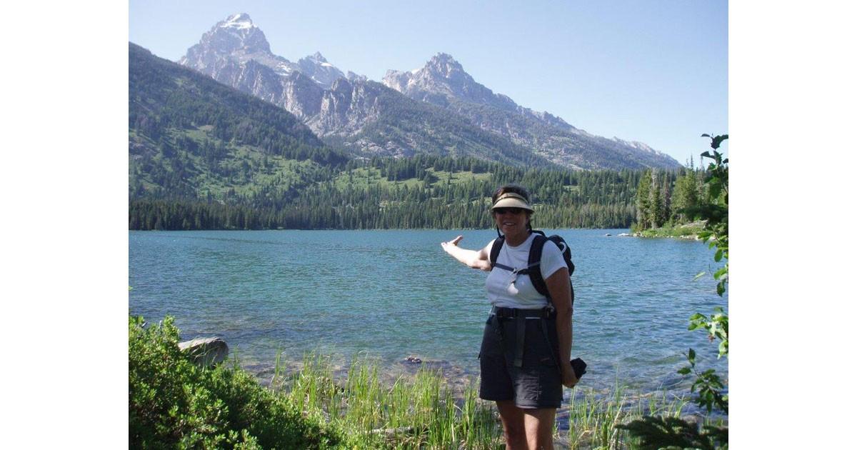Linda at Taggart Lake in the Tetons