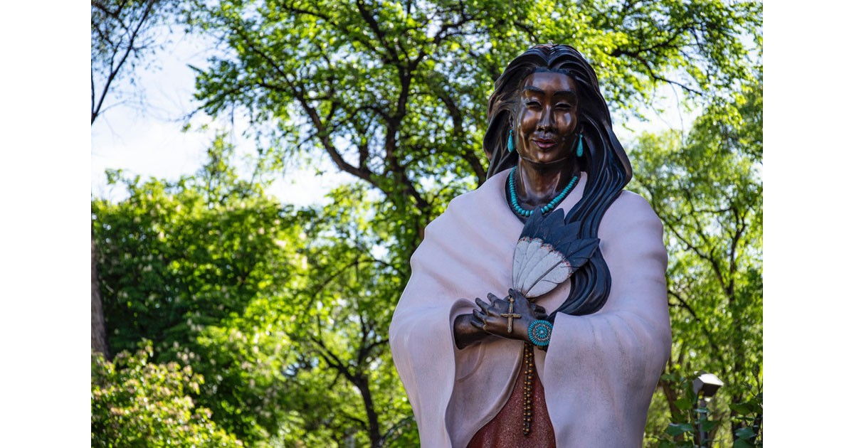 Indian Maiden in the Churchyard at the Basilica of St. Francis of Assisi - Santa Fe by Kathleen Messmer