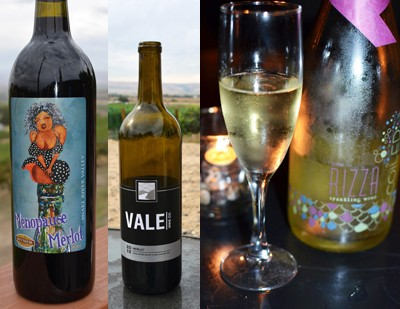 Bitner Menopause Merlot, Hat Ranch Vale Wine Co. and Coiled Rizza Sparkling Riesling