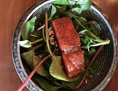 Lightly cured Chinook salmon, bacon spuma, wild greens