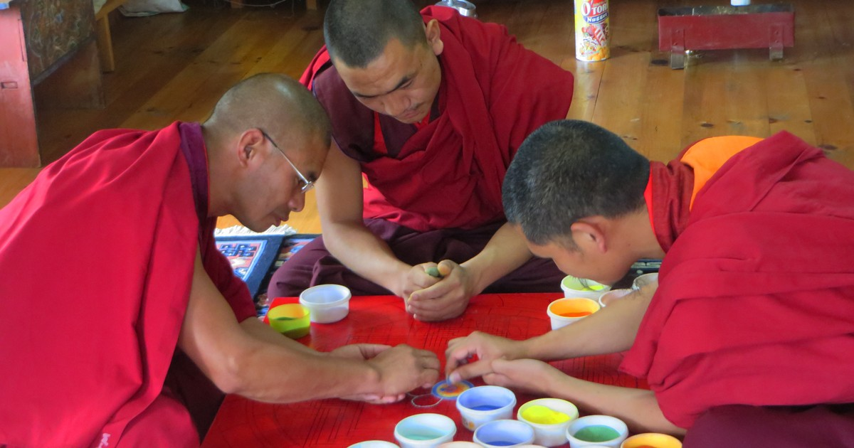 Making a mandala requires years of training and practice.
