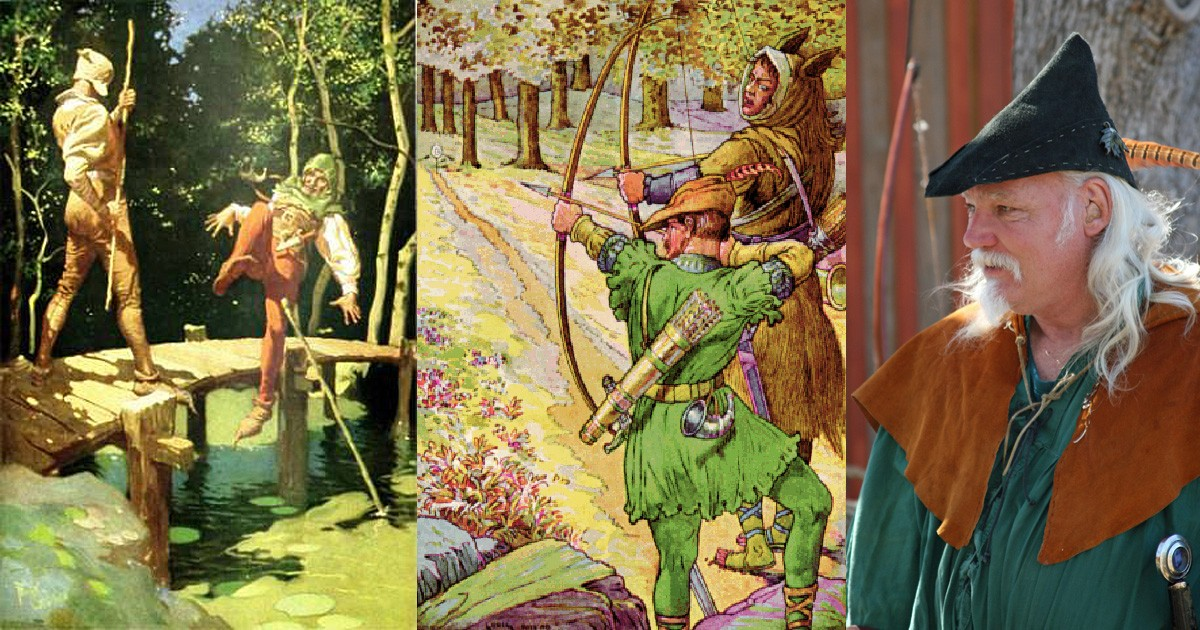 """""""Little John and Robin Hood"""" by Frank Godwin and """"Robin shoots with Sir Guy"""" by Louis Rhead"""