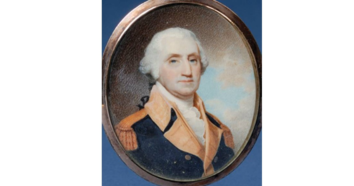 George Washington miniature from 1800. Early American heroes were painted frequently, copying easel paintings done by other artists.