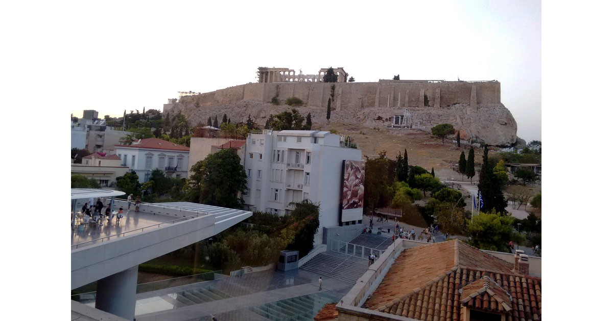 View of Pantheon from Acropolis Museum, Athens