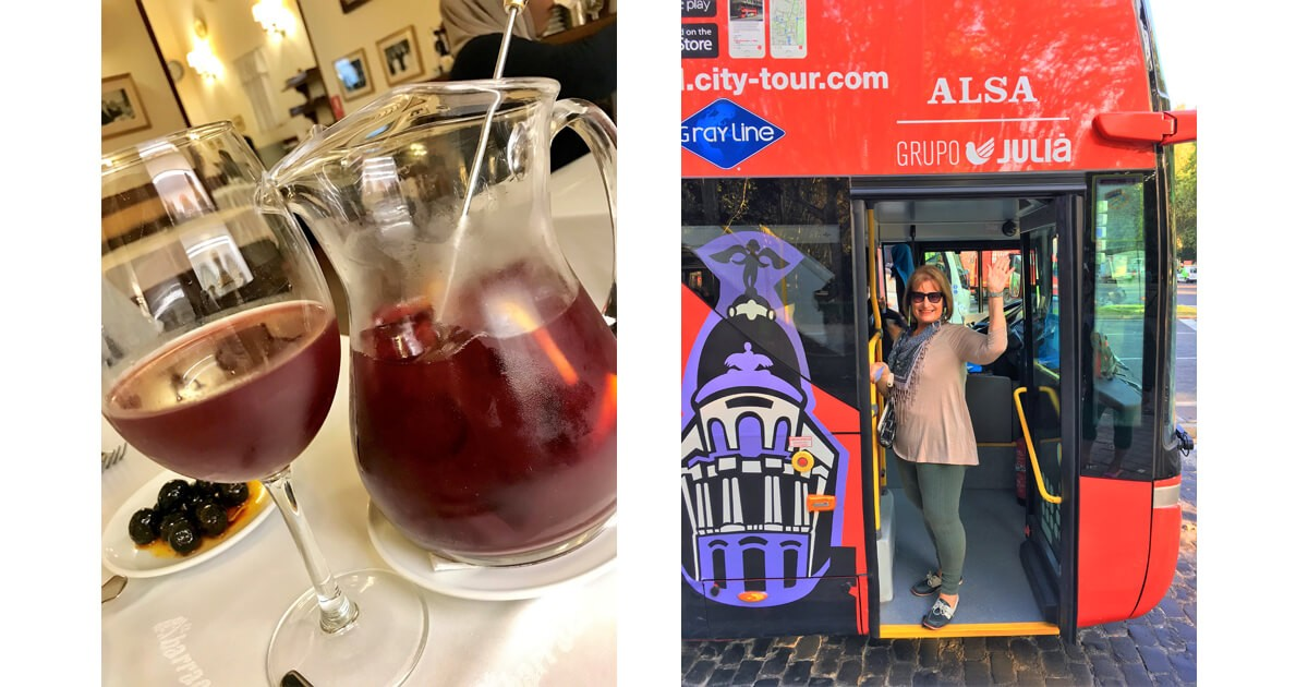 Sangria at Plaza de Santa Ana and a Hop on Hop Off Bus