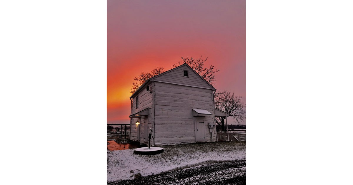 The Klingle Farmhouse at Sunrise and First Snow