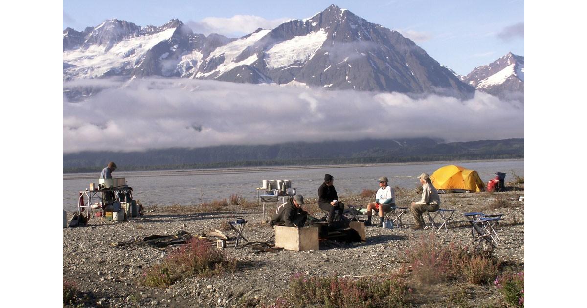 Alaska Camplife with Fairweather Range by Margaret Piggott