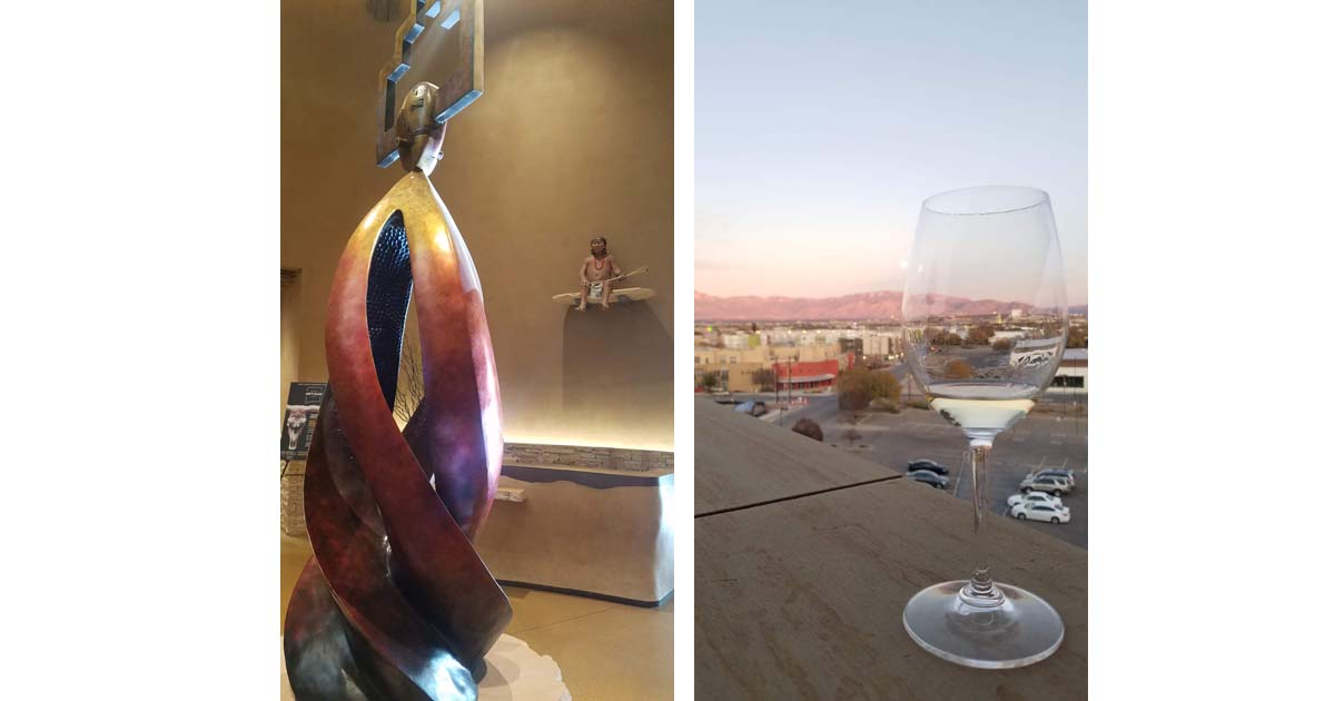 Art in the Hotel Chaco Lobby and Wine Sunsets at Level 5 inside Hotel Chaco