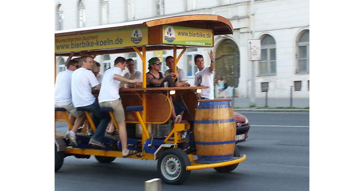 A Beer Bike is a common sight along the streets of Budapest City Center.