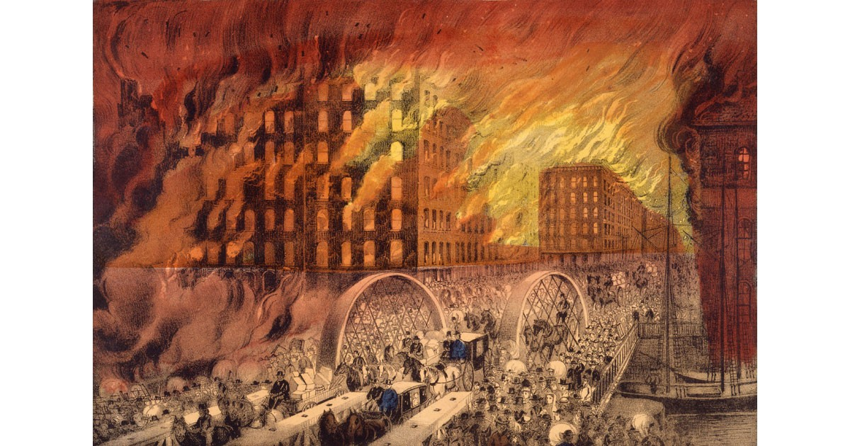 Chicago in Flames by Currier & Ives - US PD