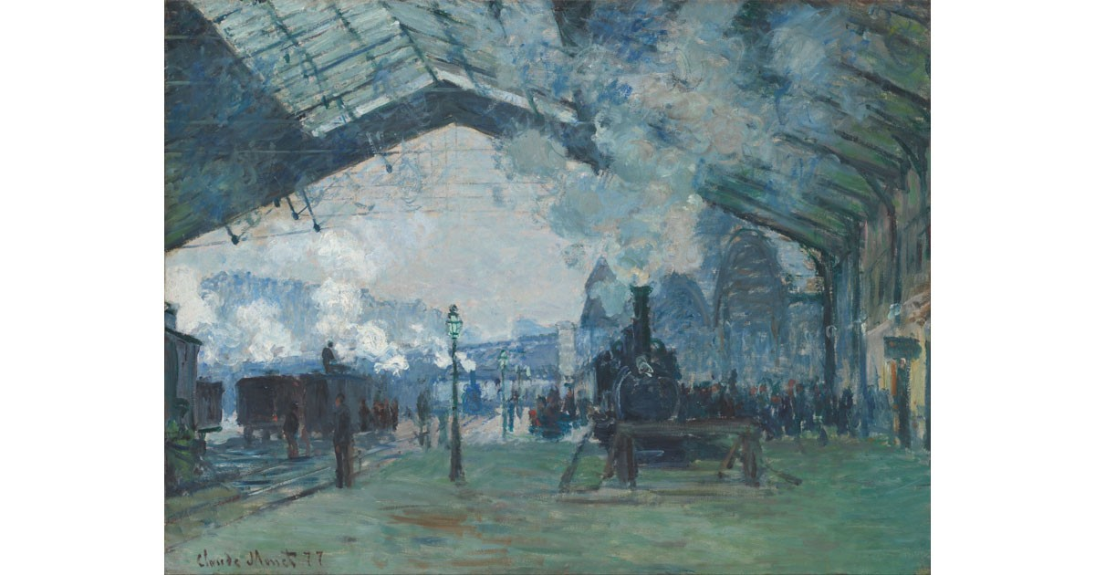 """Arrival of the Train from Normandy at Gare Saint-Lazare"", Claude Monet, 1877"