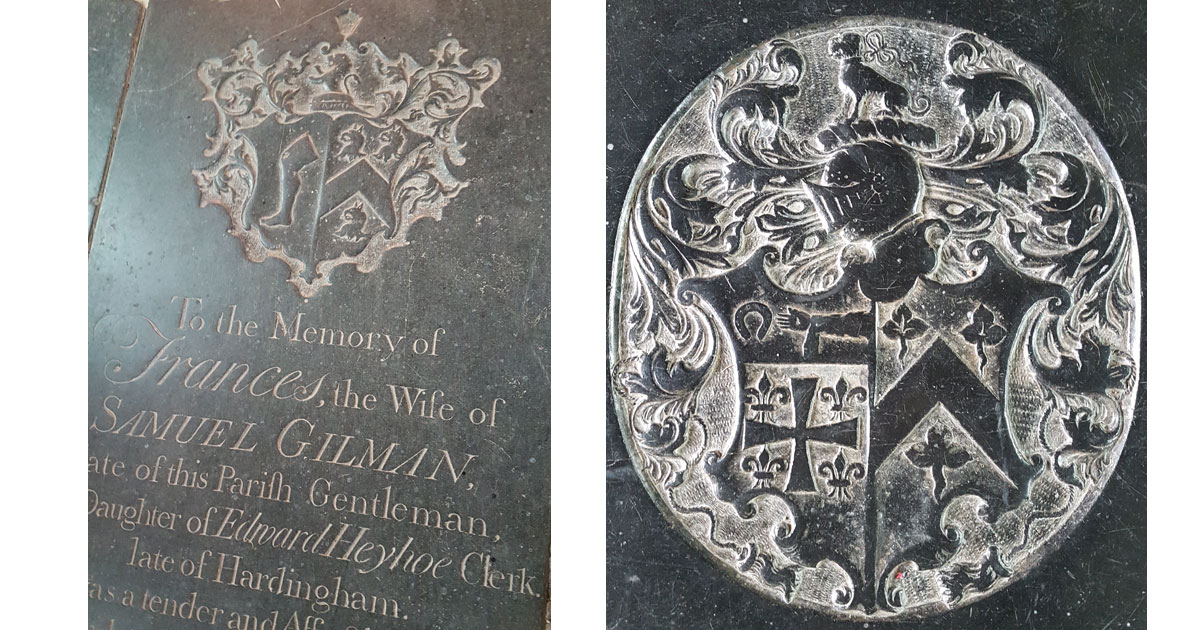 Coat of arms on a tombstone and on a memorial.