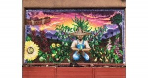 Colorful mural illustrates the Three Sisters – corn, beans and squash