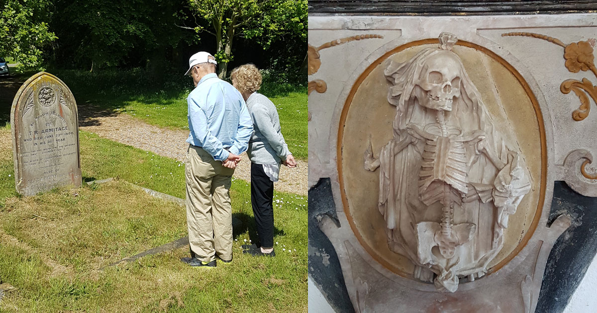 Couple paying respects to an ancestor and a memorial picture.