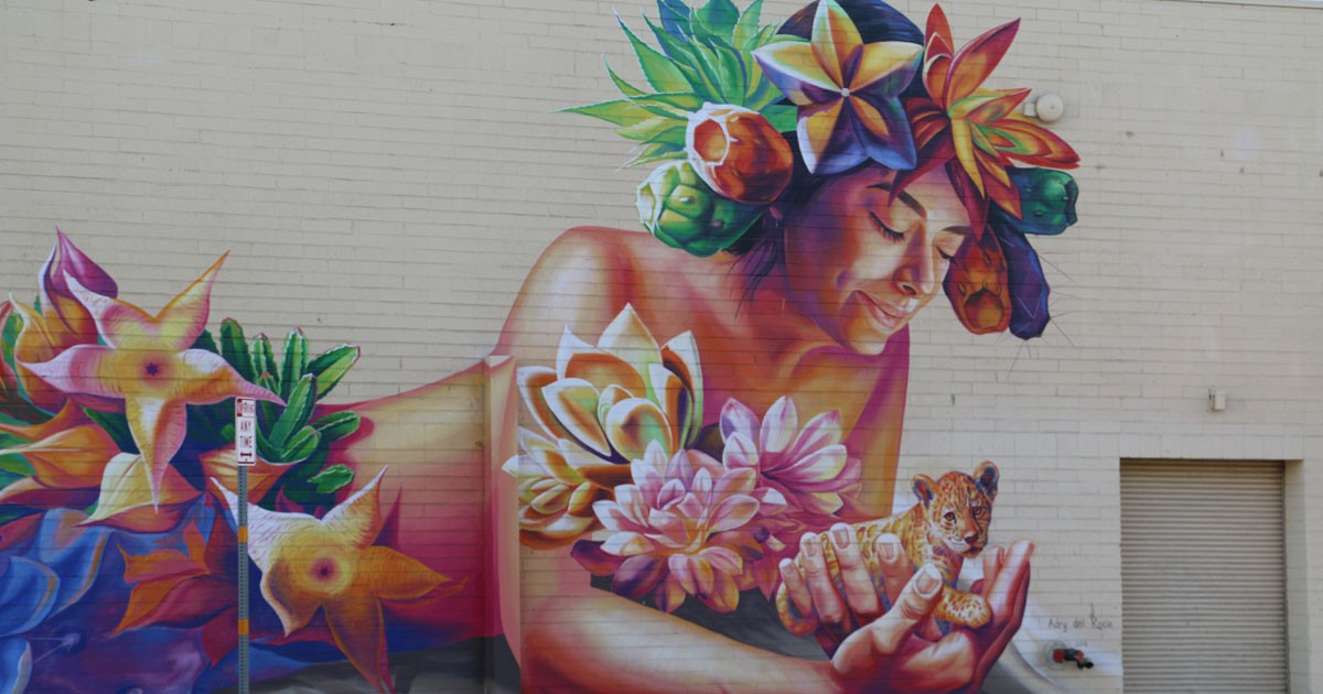 Desert Flower Mural in Yuma, Arizona by Adry del Rocio