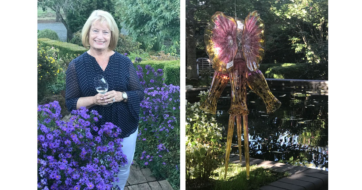 Diva-Approved winetasting and Oregon garden glass art.