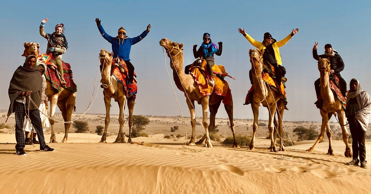 Family Camel Ride in Thar Desert