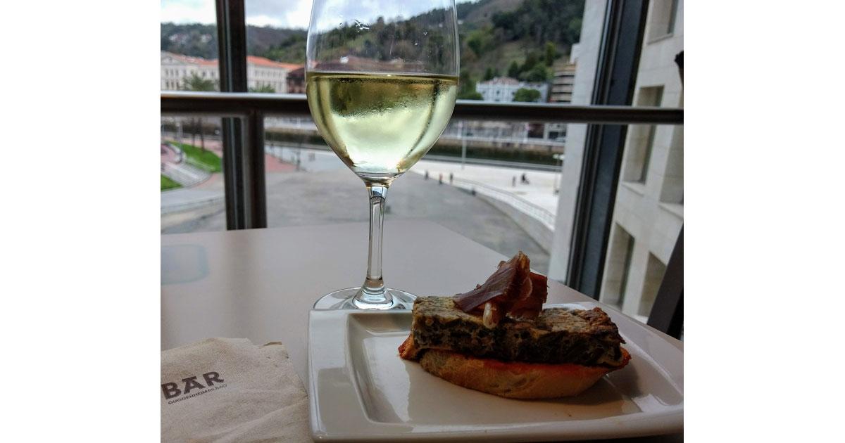 Local wine and _Pintxos_ at the Guggenheim, Bilbao