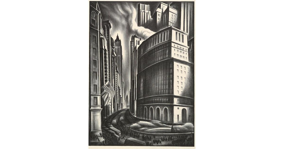 Looking Up Broadway by Howard Cook - Cooper Hewitt, Smithsonian Design Museum