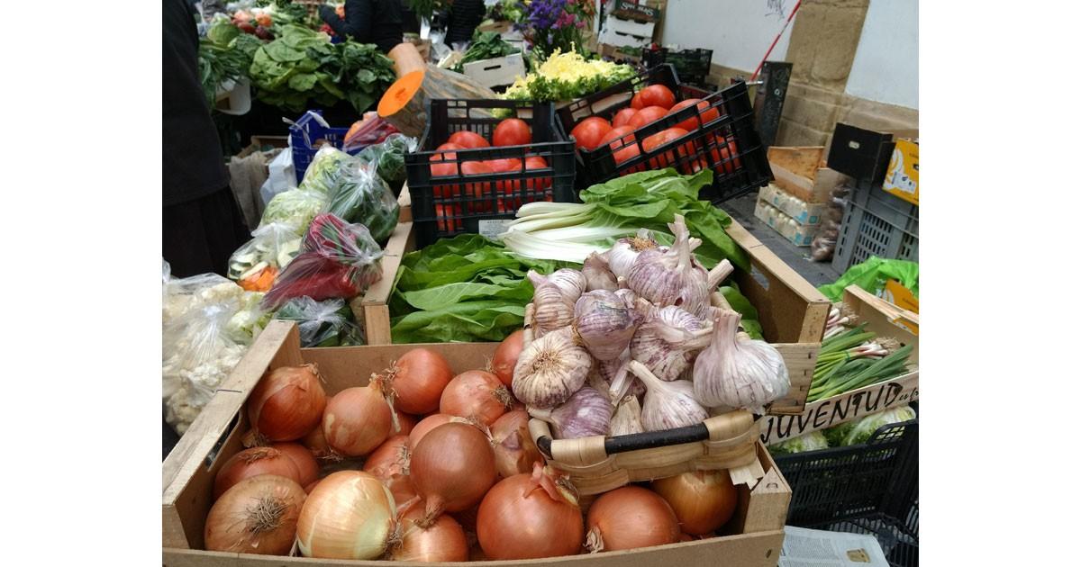 Market color with huge garlic bulbs - San Sebastián
