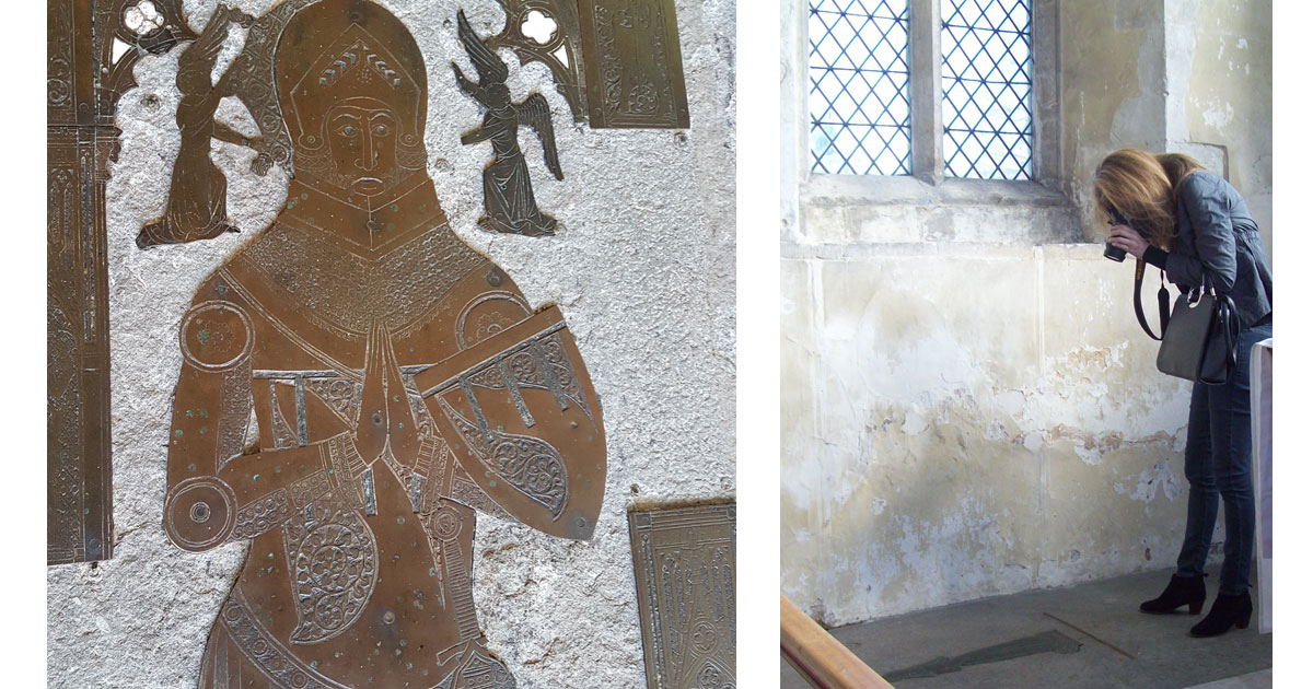 Medieval Brass of a Knight and guest taking a photo.
