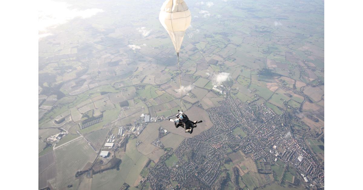 Parachuting in Norfolk, England