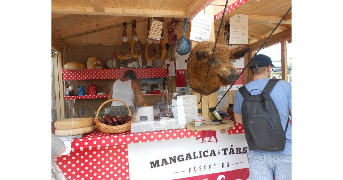 A Mangalitza pig and sausage stand at Gourmet food festival in Budapest.