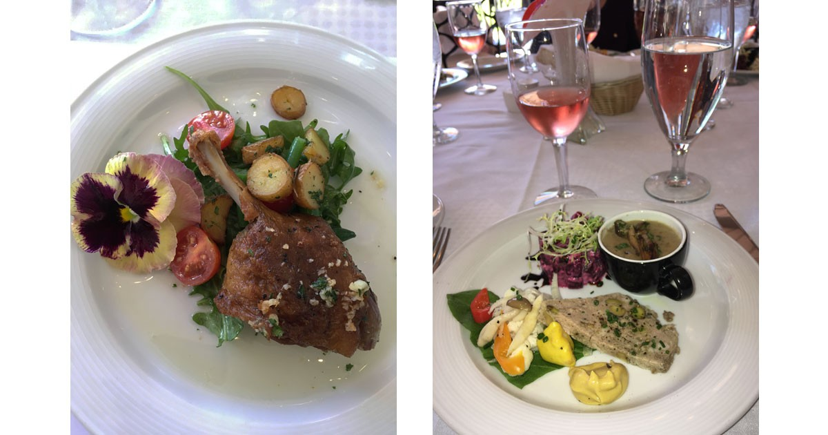 Special plating touches and Lunch served at Cafe Jardin