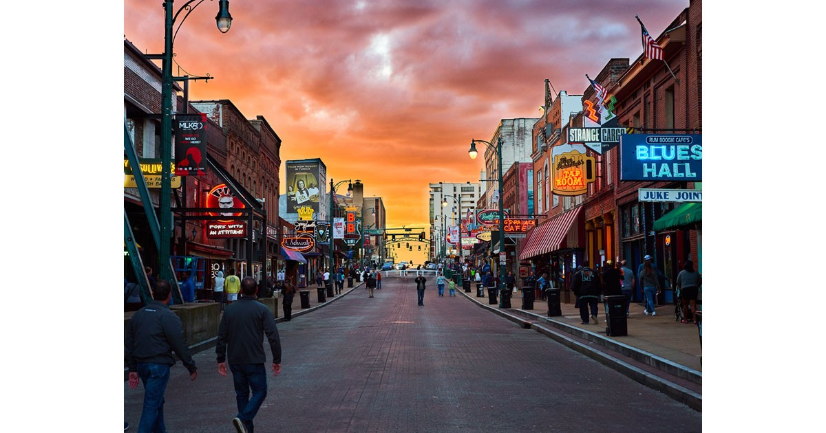 Sunset on Beale Street. Photo by   Joshua Brown courtesy of Memphis Tourism