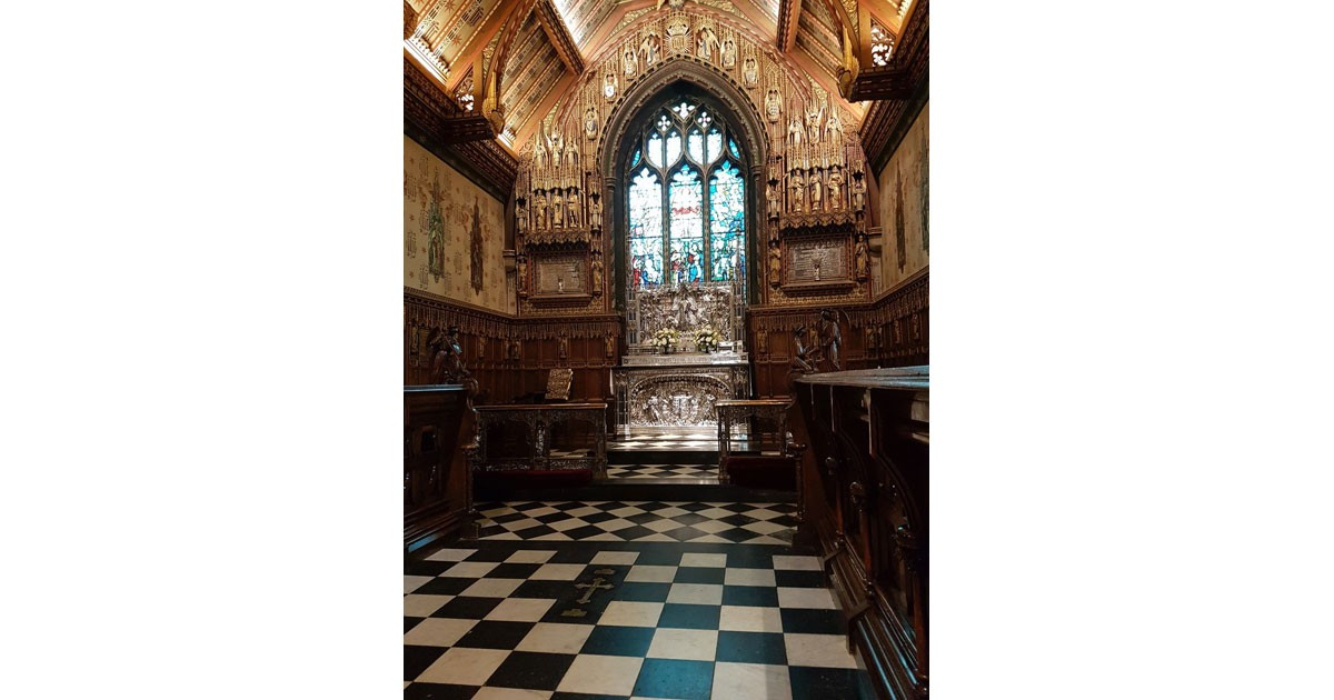 The Chancel of Sandringham Church where both King George V and King George VI laid overnight before they were taken to London (1936 and 1952)