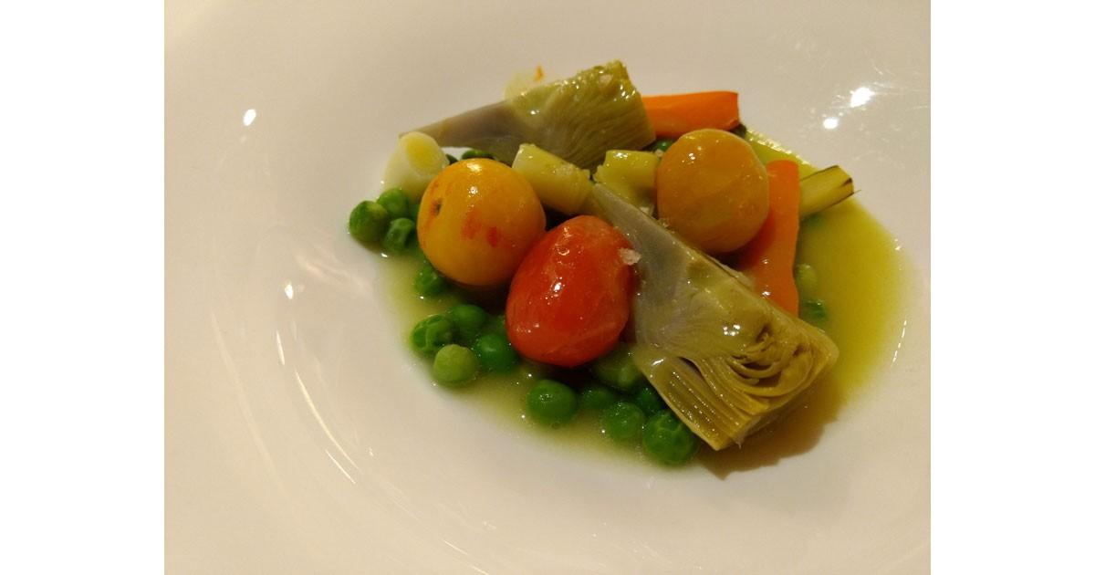 Classic Basque cuisine -fresh spring vegetables are the focus.