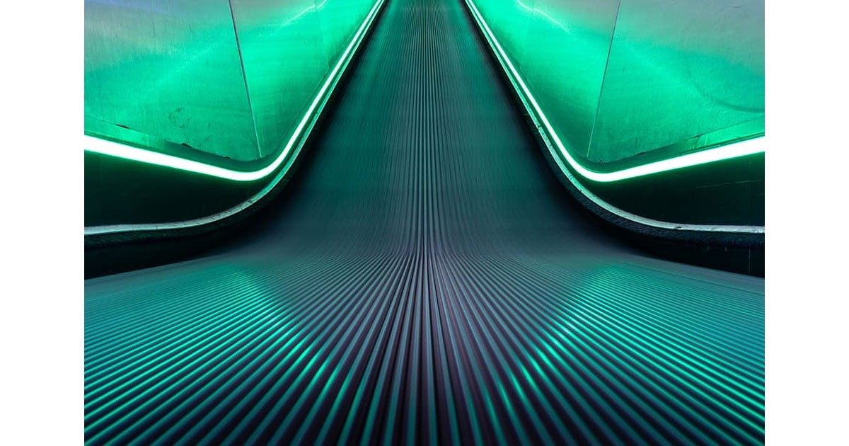 """Neon escalator form"" Jean Francious Millet Painting"